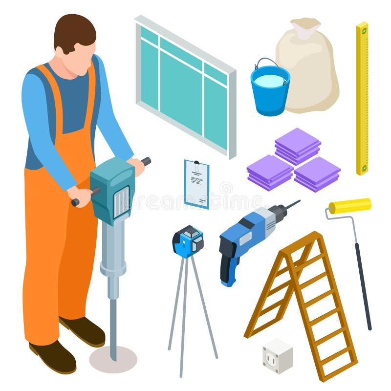 Budowniczego i budowy narzędzi isometric wektorowe ikony ilustracji