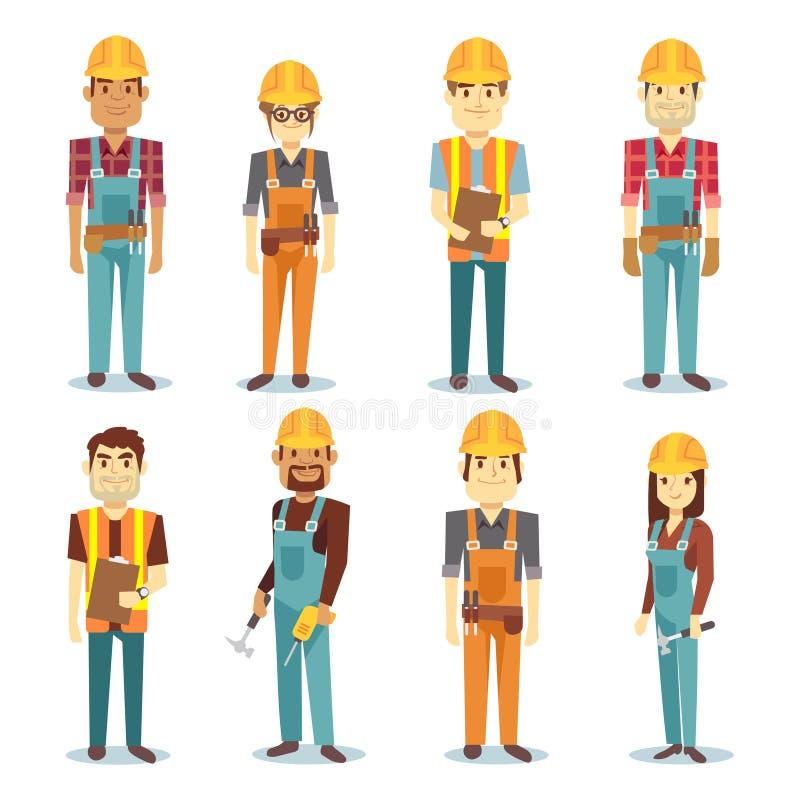 Budowniczego kontrahenta mężczyzna i żeńskiego pracownika charakteru wektorowi ludzie - set ilustracji