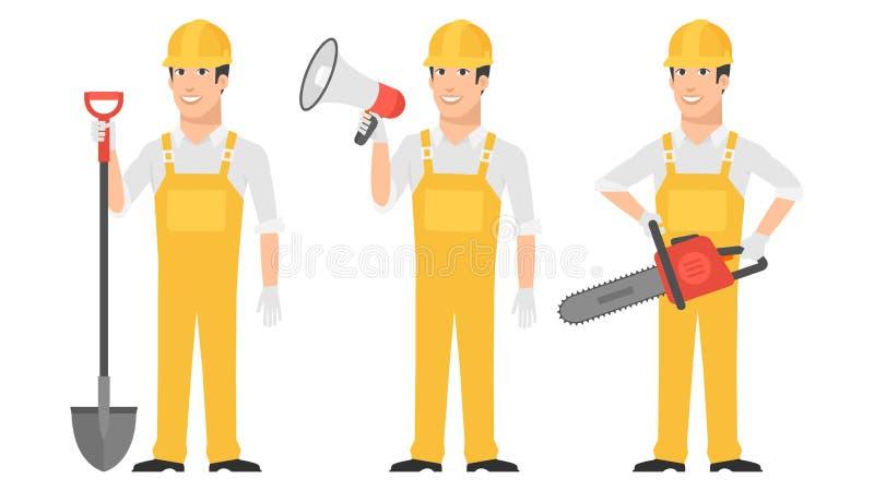 Download Budowniczego Mienia łopaty Megafonu Piła łańcuchowa Ilustracja Wektor - Ilustracja złożonej z maskotka, śliczny: 53788108