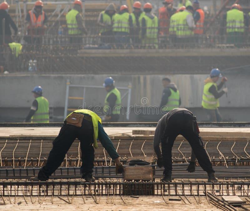 Budowniczowie dzia metali prąć bary w struktury wzmacnienie f zdjęcie royalty free