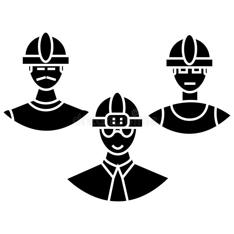 Budowniczowie zespalają się ikonę, wektorowa ilustracja, znak na odosobnionym tle ilustracja wektor