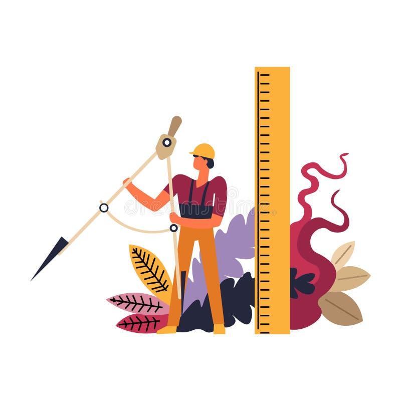 Budowniczy jest ubranym hełm, mężczyzny pracownik z władc narzędziami ilustracja wektor