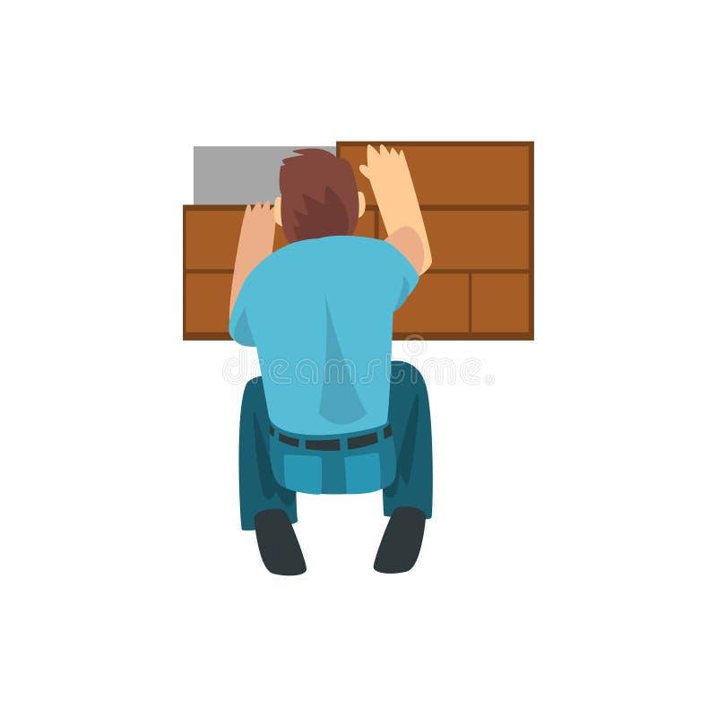 Budowniczy Kłaść laminat na podłodze, Męski pracownika budowlanego charakter z Fachową wyposażenie wektoru ilustracją ilustracja wektor