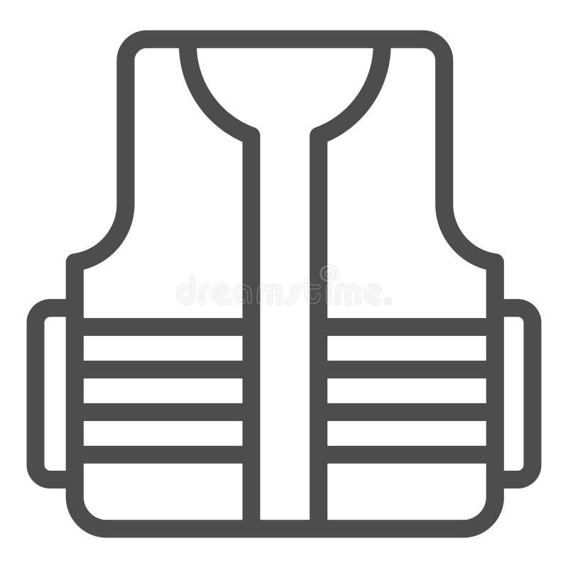 Budowniczy kamizelki linii ikona Budowy odzie?y wektorowa ilustracja odizolowywaj?ca na bielu Ochronny kamizelka konturu stylu pr ilustracja wektor