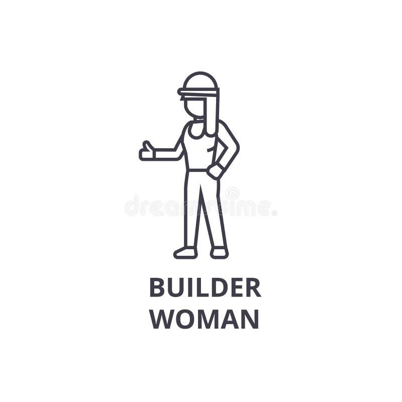 Budowniczy kobiety wektoru linii ikona, znak, ilustracja na tle, editable uderzenia royalty ilustracja