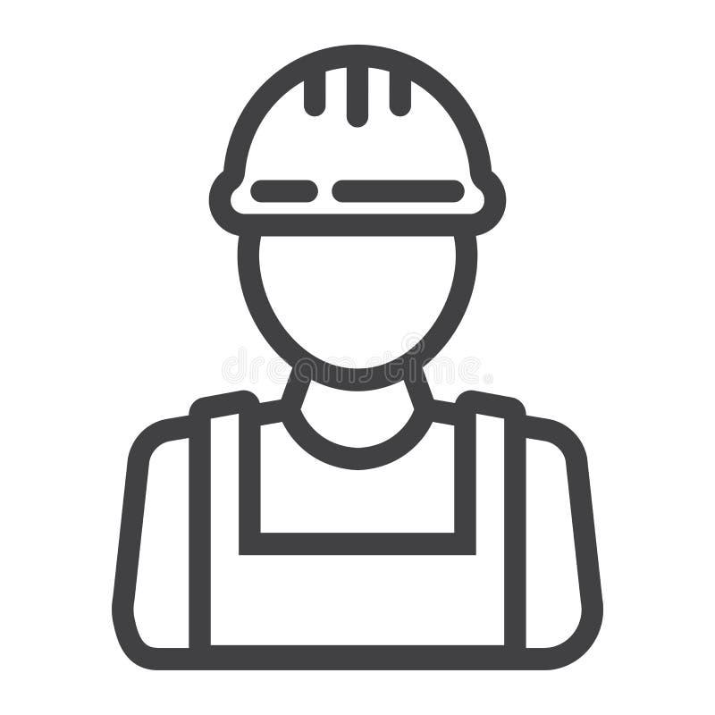 Budowniczy kreskowa ikona, budowa i naprawa, budowa ilustracja wektor