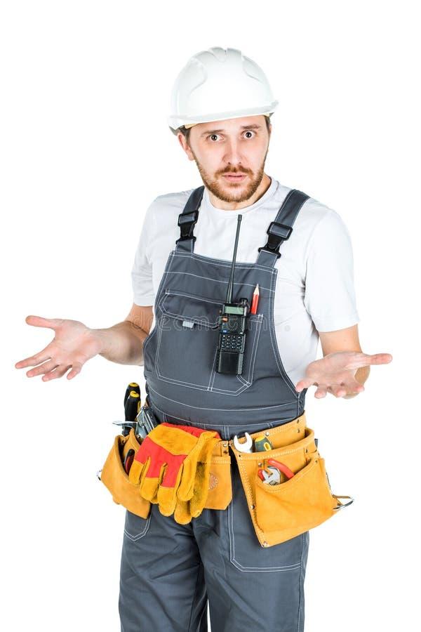 Budowniczy lub pracownik w ochronnym hełmie zaskakują Jest zdjęcie stock