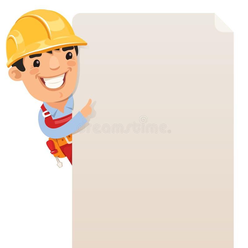 Budowniczy patrzeje pustego plakat ilustracja wektor