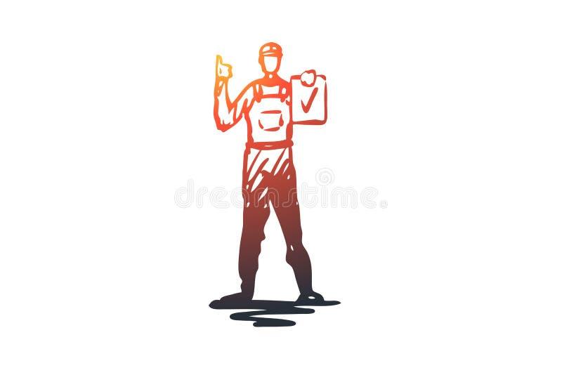 Budowniczy, pracownik, hełm, naprawa, inżyniera pojęcie Ręka rysujący odosobniony wektor ilustracji