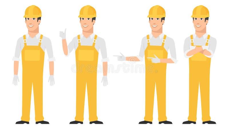 Download Budowniczy Wskazuje W Różnorodnych Pozach Ilustracja Wektor - Ilustracja złożonej z kierownik, maskotka: 53788142