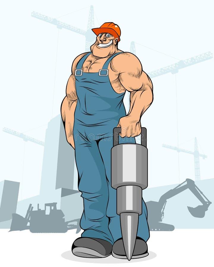 Budowniczy z jackhammer zdjęcia stock