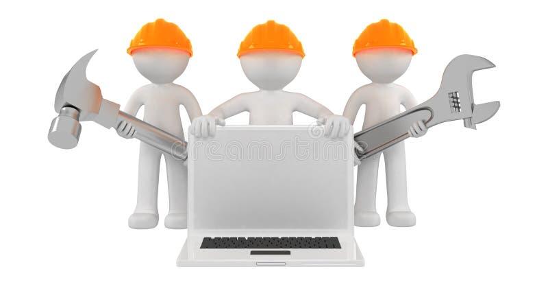 budowniczych laptopu narzędzia ilustracja wektor