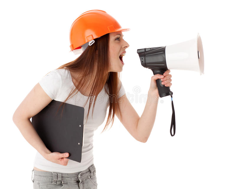 budowy żeński megafonu kierownik fotografia stock
