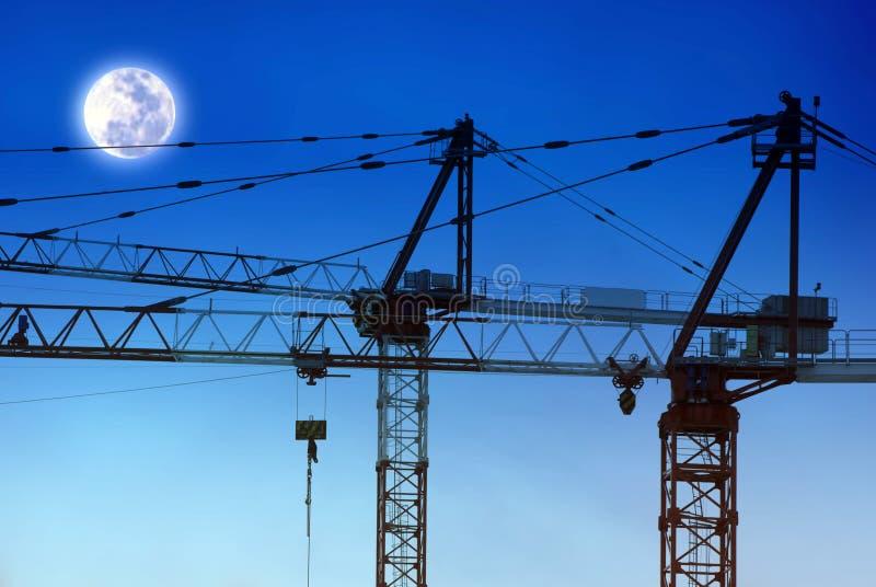 budowy żurawi księżyc obraz royalty free