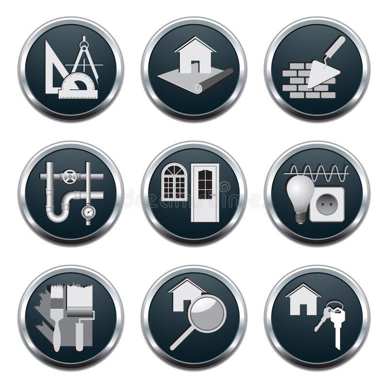 Budowy & architektury ikony ilustracja wektor