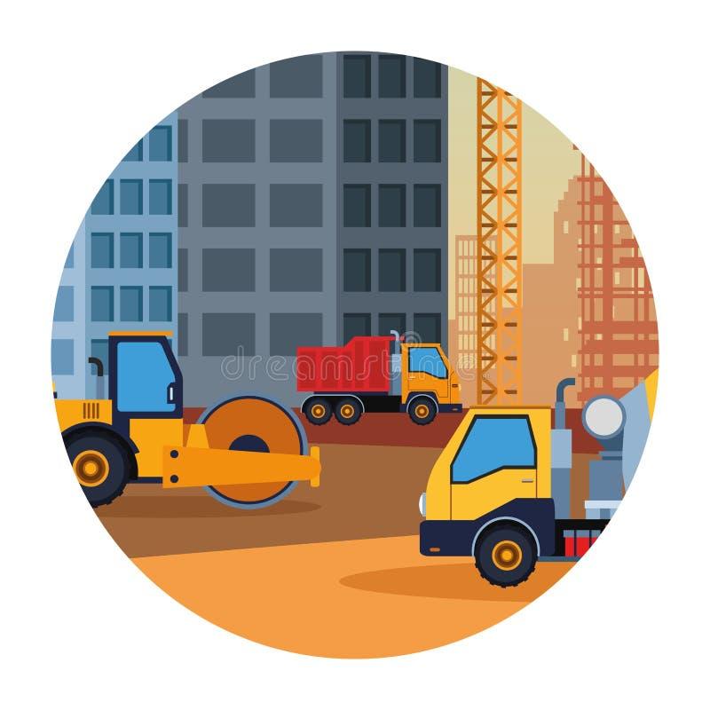 Budowy ciężarowy steamroller i cementu pojazd kolorowy ilustracji