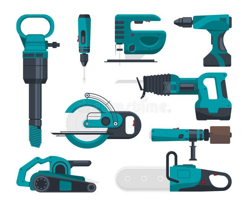 Budowy electro narzędzia dla naprawy Wektorowi obrazki w mieszkanie stylu royalty ilustracja