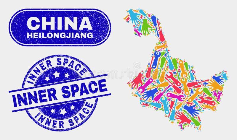 Budowy Heilongjiang Gubernialna mapa i cierpienie przestrzeni Wewnętrzni znaczki ilustracji