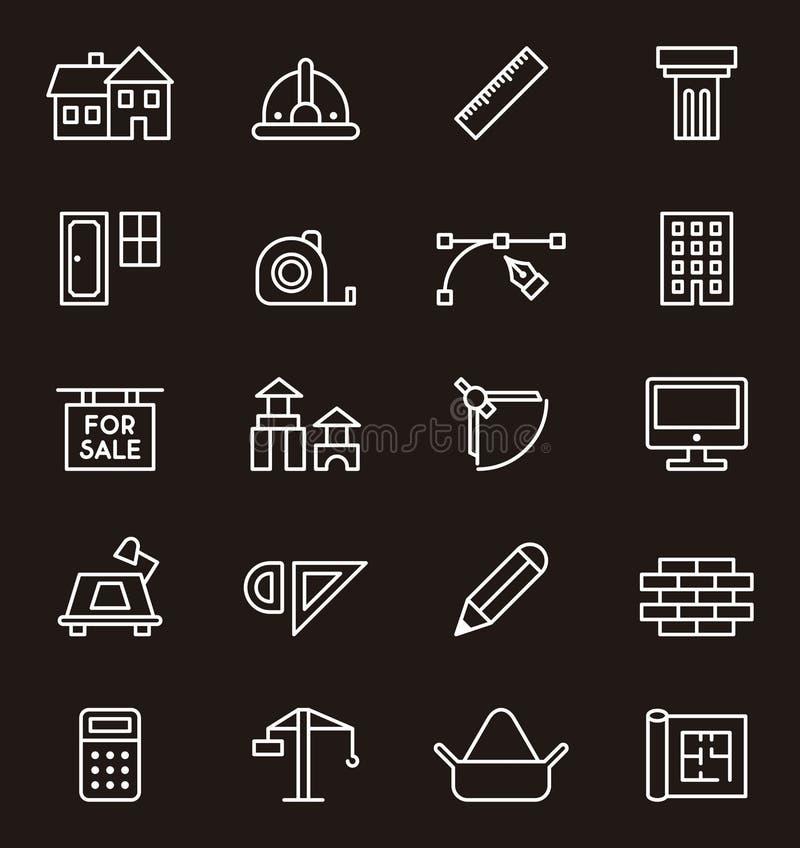 Budowy i architektury ikony royalty ilustracja