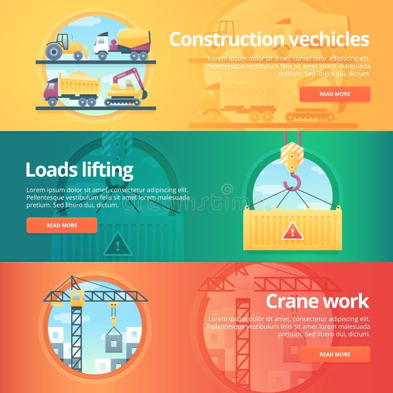 Budowy i budynku sztandary ustawiający ilustracja wektor