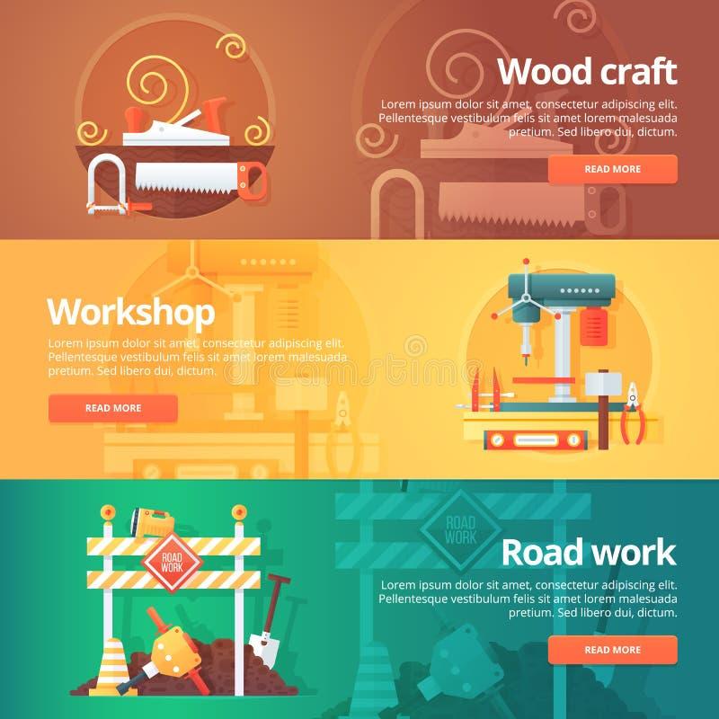 Budowy i budynku sztandary ustawiający Płaskie ilustracje na temacie drewniany rzemiosło, metalu warsztat i drogowej pracy utrzym ilustracja wektor