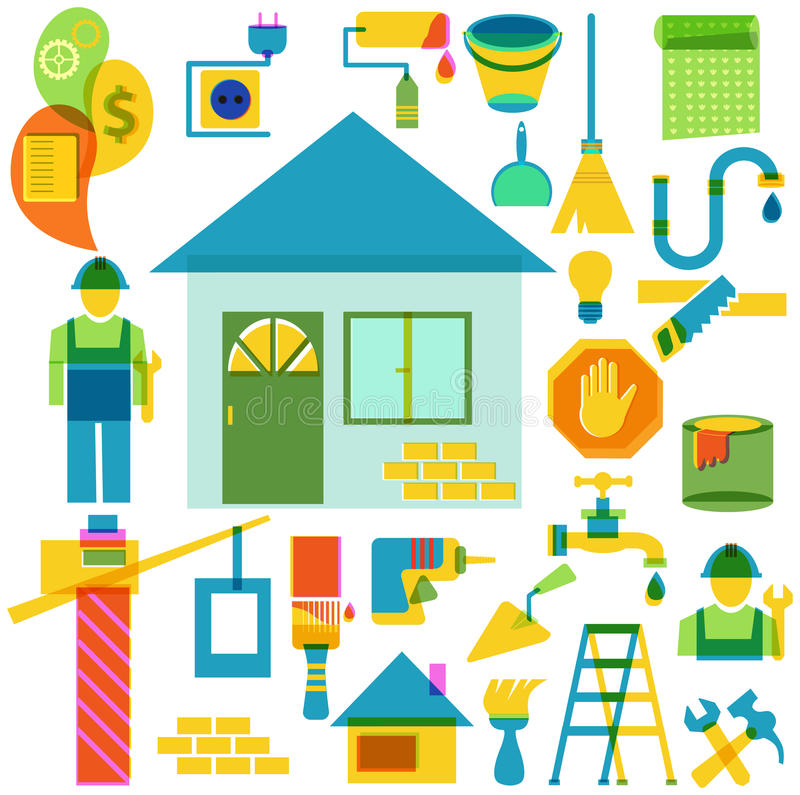 Budowy i naprawy koloru ikony kolekcja ilustracja wektor