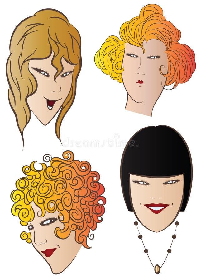 budowy ilustraci zapas pod wektorem Czaruje twarze dziewczyny royalty ilustracja