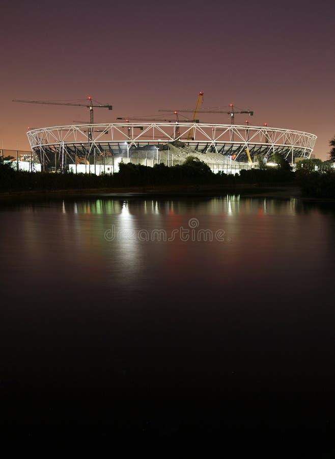 budowy London noc olimpijski miejsca stadium fotografia stock