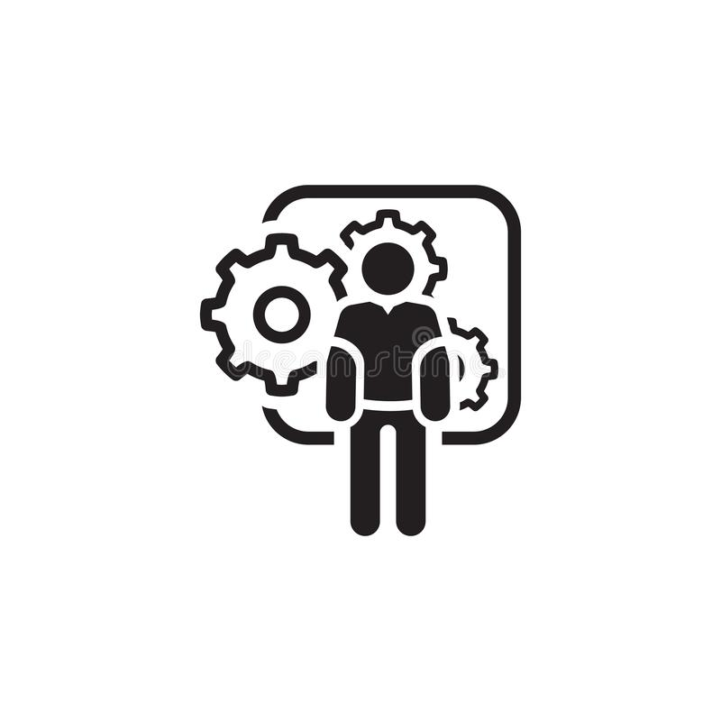 Budowy maszyn ikona Mężczyzna i przekładnie Rozwoju symbol ilustracja wektor