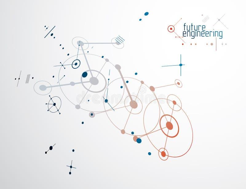 Budowy maszyn technologii wektorowy abstrakcjonistyczny tło, cy ilustracji
