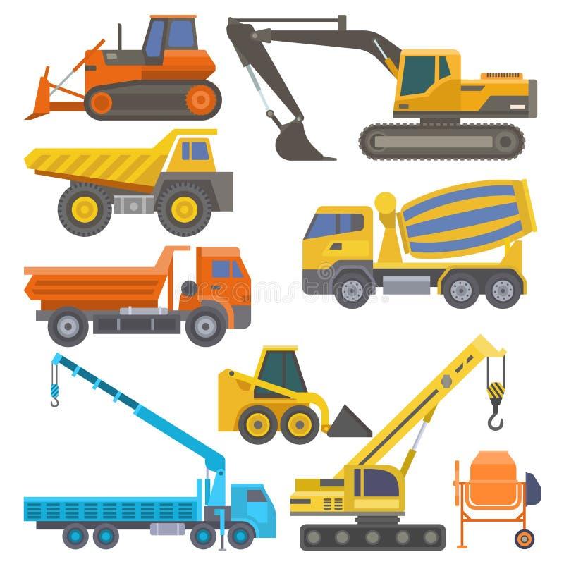 Budowy maszyneria z ciężarówka dźwigowego buldożeru płaskim kolorem żółtym i wyposażenie odtransportowywamy wektorową ilustrację zdjęcie stock
