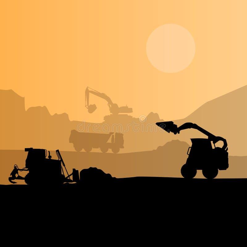 Budowy maszynerii sylwetki tło Czerń i pomarańczowy ustawiający zmielone pracy Maszyny praca w toku royalty ilustracja