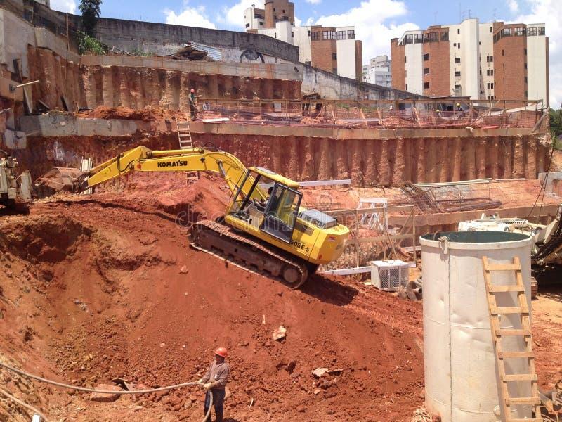 Budowy miejsce pracy São Paulo, Fundation zdjęcia royalty free