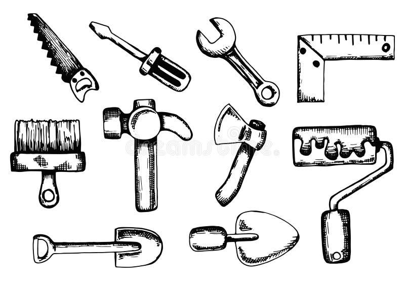 Budowy narzędzie ustawiający wektorowy nakreślenie odosobniony rysunkowy manuał royalty ilustracja