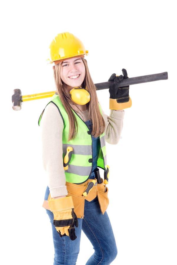 budowy odosobniony ładny stroju pracownik zdjęcie royalty free