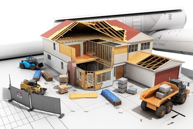 budowy pojęcia dom w budynku procesie Trójwymiarowym ilustracja wektor