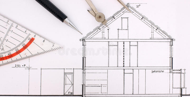 budowy rysunku dom zdjęcie stock