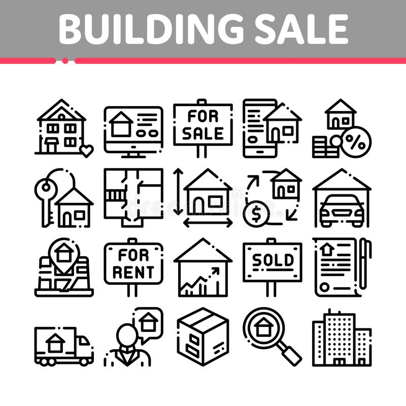 Budujący Domowego sprzedaż wektoru Cienkie Kreskowe ikony Ustawiać ilustracji