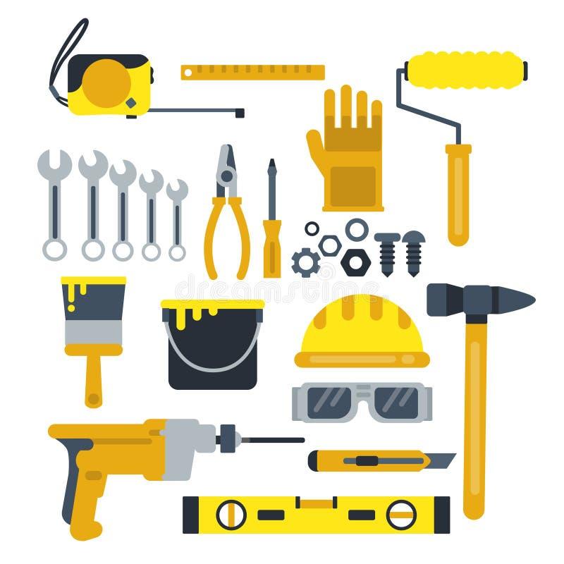 Budujący lub napraw narzędzia, praca hełm, młot, farb rękawiczki i inne przemysłowe wektorowe ikony ustawiający, royalty ilustracja