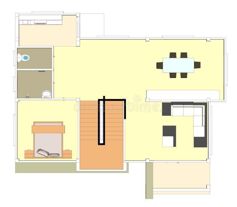 Budujący plan downstairs royalty ilustracja