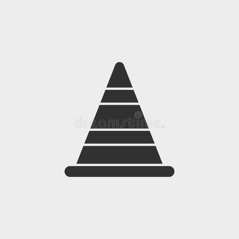 Budujący, rożek, ikona, płaska ilustracja odizolowywający wektoru znaka symbol wektor - budowa wytłacza wzory ikony wektorowego c ilustracja wektor