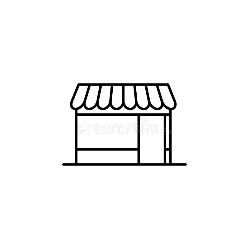Budujący, sklepowa kontur ikona Element architektury ilustracja Premii ilości graficznego projekta konturu ikona podpisz symboli ilustracji