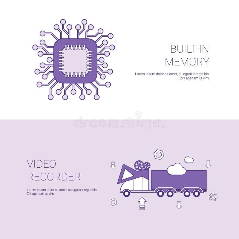 Budujący W pamięci I kamera video pojęcia szablonu sieci sztandarze Z kopii przestrzenią royalty ilustracja