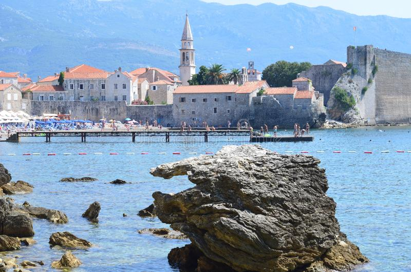 Budva bay. The view at the medieval citadel royalty free stock images