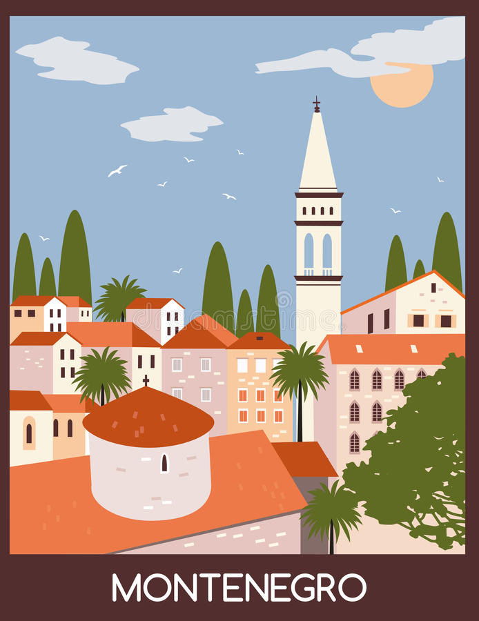 Budva city in Montenegro. Old town in Budva city, Montenegro stock illustration