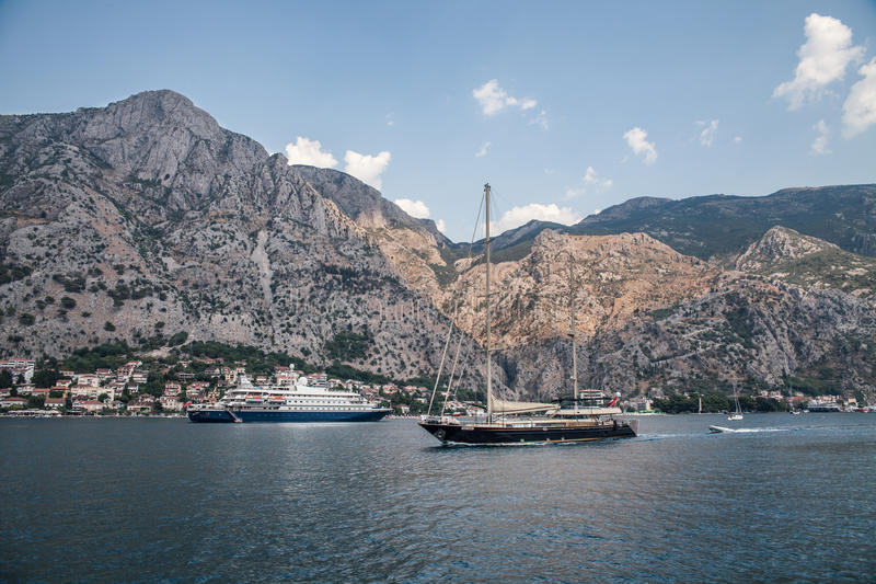 BUDVA, MONTENEGRO - AUGUST 14, 2016 ; BUDVA, MONTENEGRO - AUGUST 14, 2016 ; The boat trip from Budva to Kotor. People on a cruise royalty free stock image