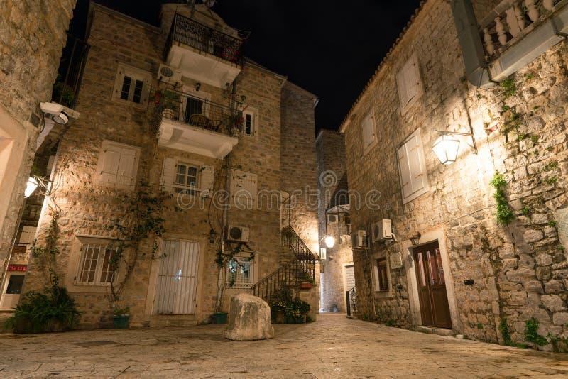 Budva, Montenegro - December 16, 2019: old town street at night. Long exposure stock photo