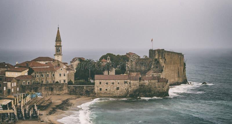 Budva, Montenegro - October 21 2016: Rainy morning in Budva royalty free stock images