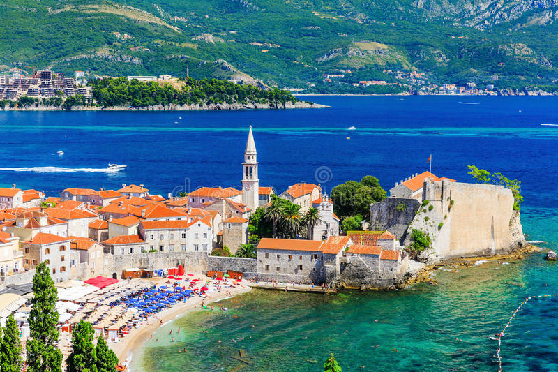 Budva, Montenegro. Panoramic view of old town royalty free stock photography