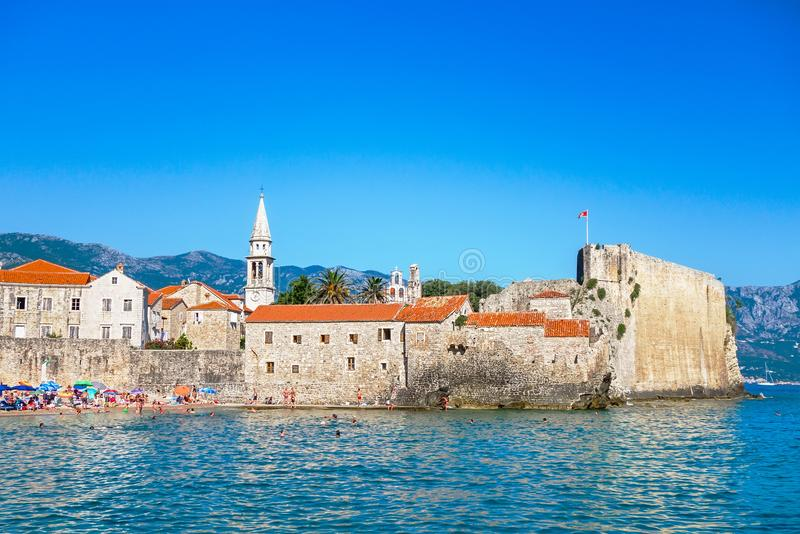 Old town Budva, Montenegro. Panoramic view of old town and beach stock photography